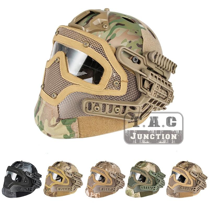 Táctico Airsoft Rápido Pj Avanzado Ajuste Protección Multi-función G4 Completa Armadura Facial Sistema Casco De Combate W/goggle Máscara