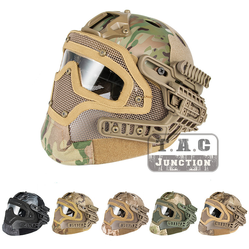 Tactical Airsoft FAST PJ Advanced Adjustment Protective Multi-function G4 Full Facial Armor System Combat Helmet w/ Goggle MaskTactical Airsoft FAST PJ Advanced Adjustment Protective Multi-function G4 Full Facial Armor System Combat Helmet w/ Goggle Mask