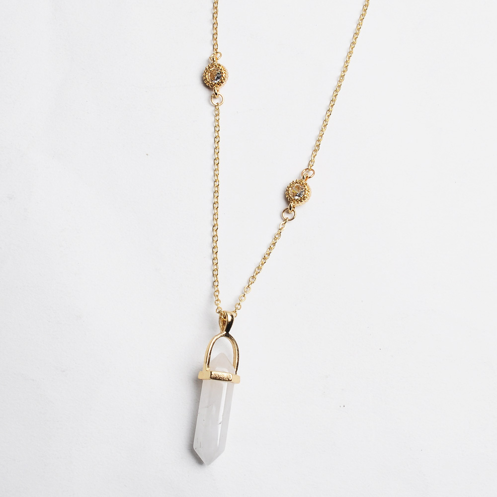 Artilady new design multi color quartz pendant necklace gold chain ...