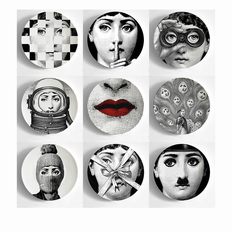 European MILAN Style Gorgeous Rare Fornasetti Plates Lina Lightbulb Face Piero Fornasetti Wall Hanging Decorative 8 Inch