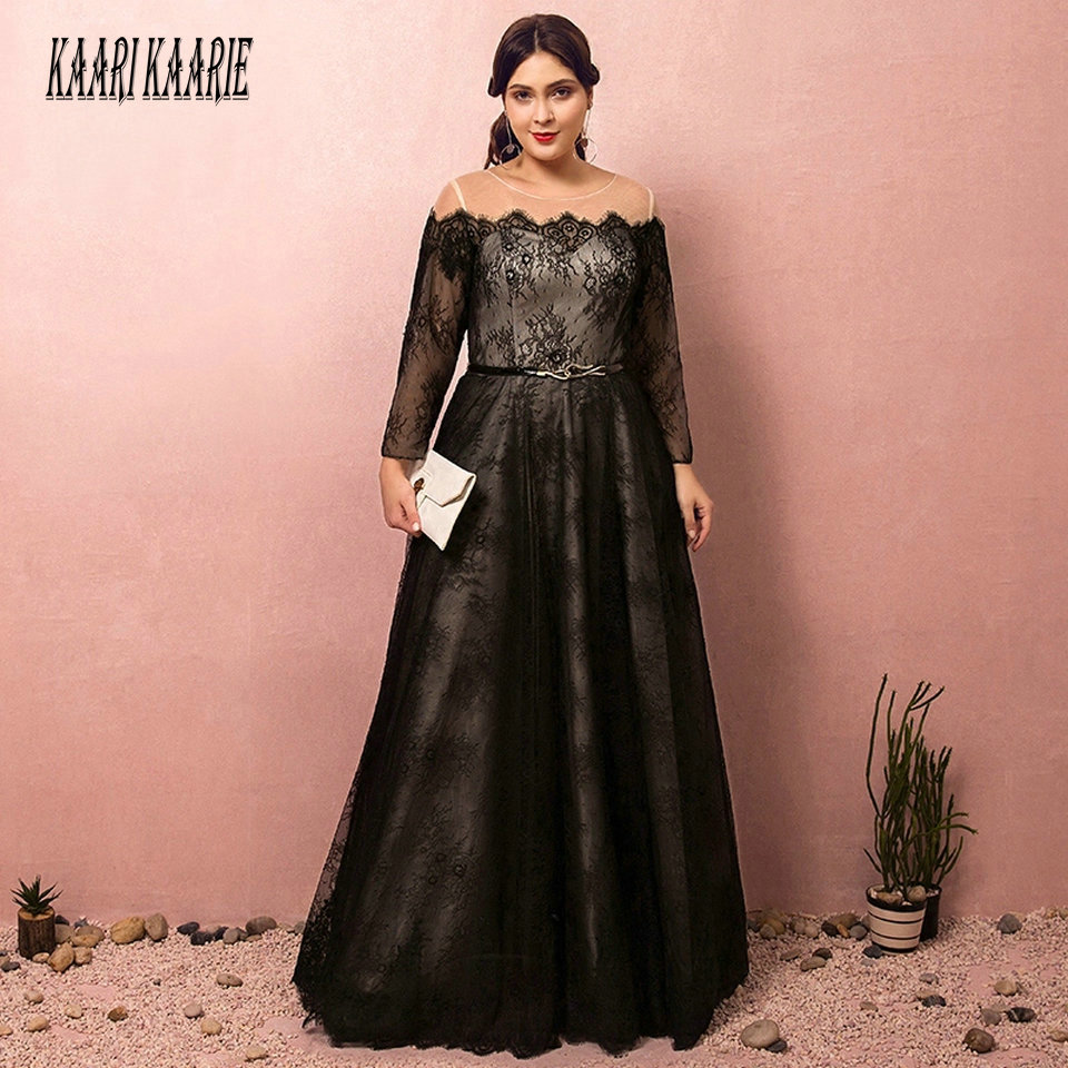Fashion Plus Size Black Evening Dresses Long 2019 Formal Evening Gowns Boat Neck Full Sleeve Lace Up Sexy Woman Party Dress Prom
