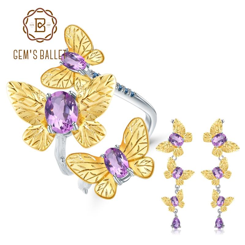 GEM S BALLET 6 89Ct Natural Amethyst Handmade Butterfly Fine Jewelry 925 Sterling Silver Ring Earrings