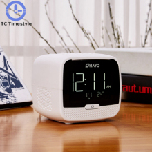 New Cube Radio Desk Alarm Clock Wireless Bluetooth Speaker Snooze Mute Gadgets LCD DigitalClock Two USB Charging Watch