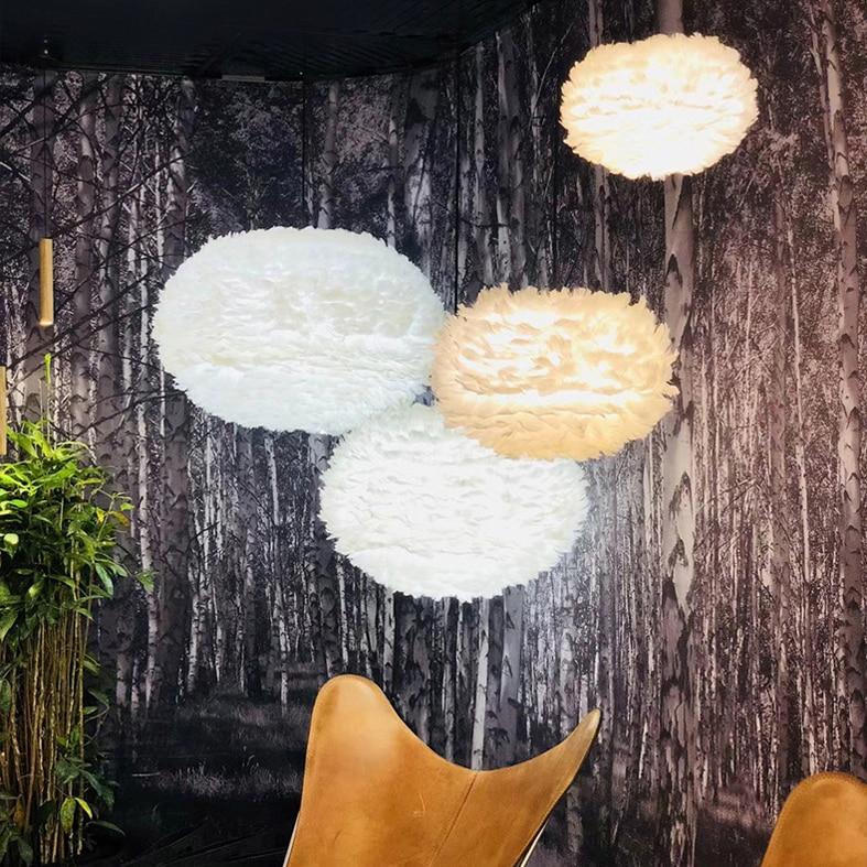 Modern Pendant Lights LED Light White Feather Lamps Home Indoor Lighting Restaurant Dining Room Living Hang