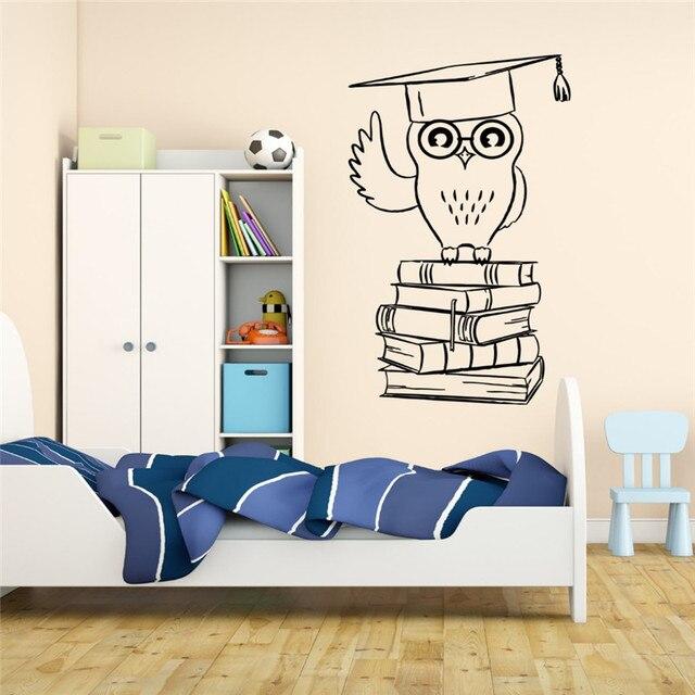 Wandaufkleber Eule Student College Bildung Bücher Für Kinder Zimmer ...