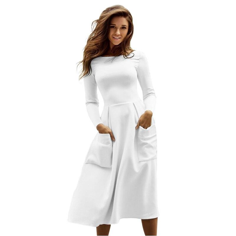 c10c0595e Liva Girl Winter Autumn Women Casual Long Dresses Skater Dress ...