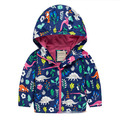Hot Sale Children's Hooded Jackets Summer Boy and Girl Outwear Fashion Long Sleeve Dinosaur Print Coat For Kids E1382