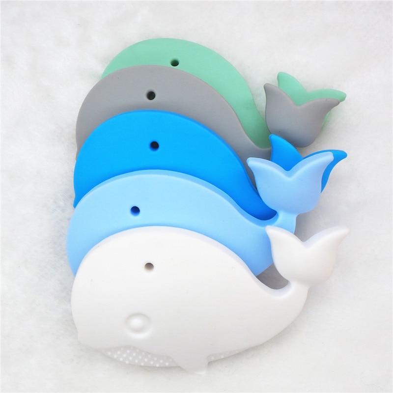 Купить с кэшбэком Chenkai 10PCS BPA Free Silicone Whale Pendant Teether Baby Shower Pacifier Dummy Teething Chewable Pendant Nursing Jewelry Toy