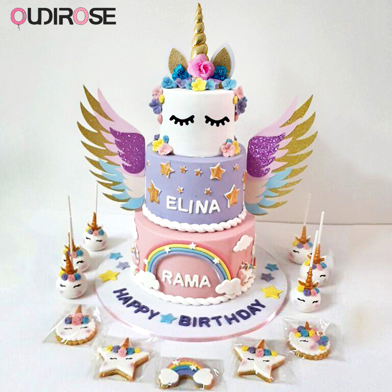 Remarkable Unicorn Party Gold Wings Crown Happy Birthday Cake Topper Top Cake Funny Birthday Cards Online Amentibdeldamsfinfo