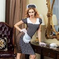 JSY polyester lace french maid costume cosplay lingerie sexy maid uniform servant dress nightwear sleepwear 6312