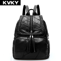 KVKY Brand Genuine Leather Women Backpack For Teenage Girls School Backpack Solid Sheepskin Female Shoulder Bag