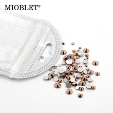 MIOBLET SS3-SS30 Mixed Size Rose Gold Crystal Rhinestones Flatback Non Hotfix Glass Round Nail Art Rhinestoned Stones Gems #K553