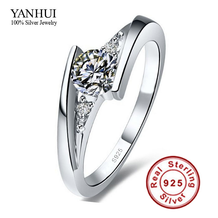 sent certificate of silver 100 pure 925 sterling silver ring set luxury 075 carat cz diamant wedding rings for women jzr004 - Cheap Wedding Rings Under 100