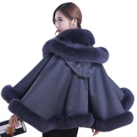 Luxury Wedding Genuine Cashmere Shawls Fox Fur Trimming with Hoody Autumn Winter Women Fur Stole Pashmina Wraps LF5001