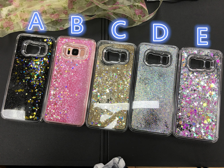 10pcs/lot S8 Trendy Shiny Stars Liquid Quicksand Flowing Back Clear Half Cover Case For Samsung S7 edge S8plus Shell Protection