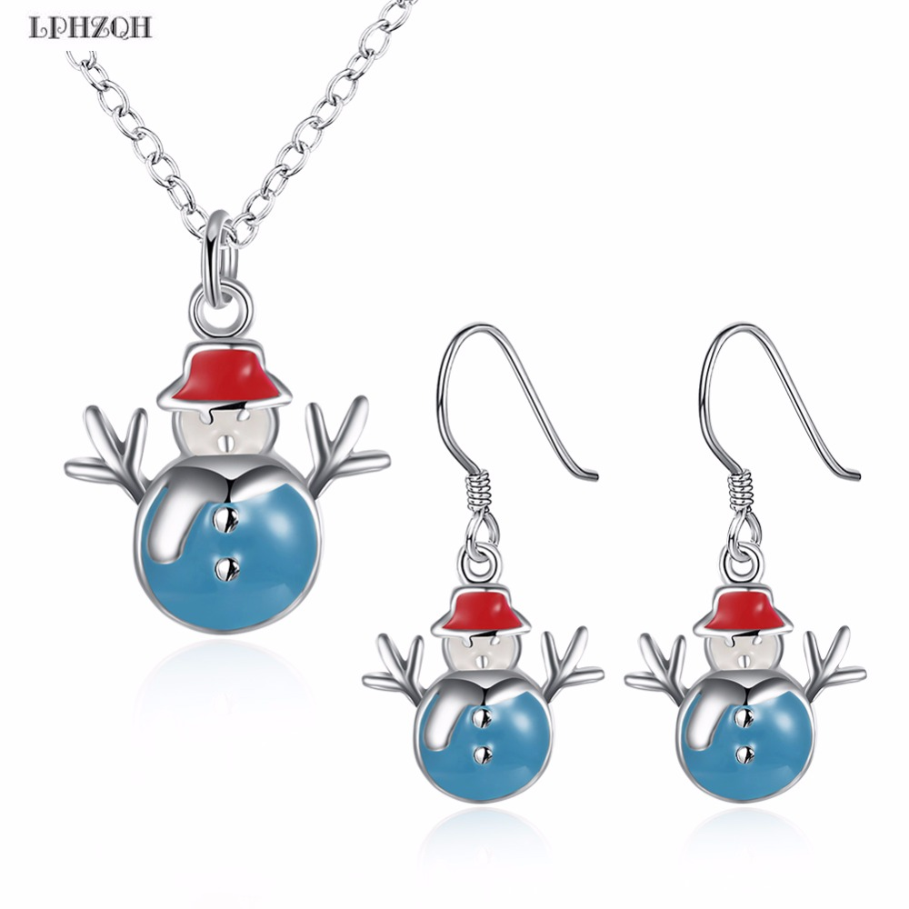 Christmas Snowman Jewelry Sets For Women Girls New Year Gifts Earrings Necklaces Wholesale Jewellery Acessories B-0060