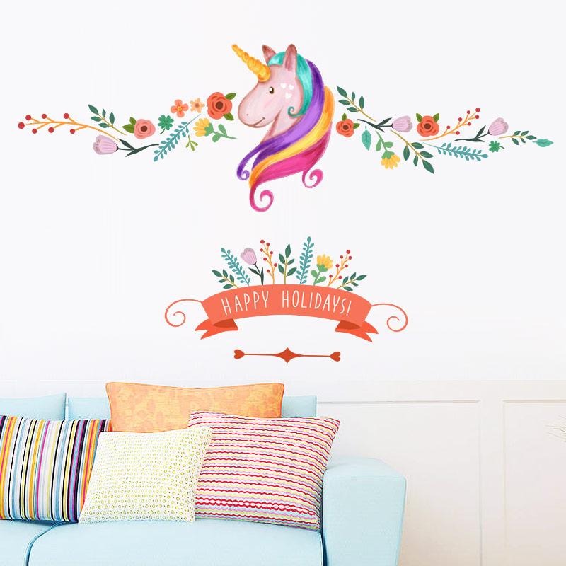 unicornio flor rama felices fiestas diy nias dormitorio de vinilo pvc de pared sticker