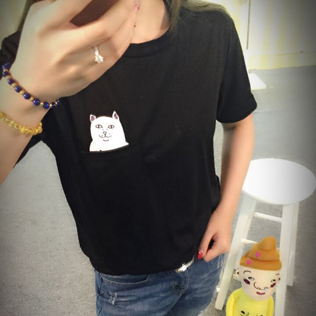130 2016 Summer Casual Brand Middle Finger Pocket Cat Printed Funny Womens  T Shirt O-