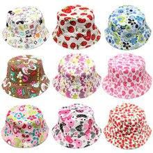 Outdoor Children Floral Bucket Hat Panama cap Cute Cotton Girls Boys Summer Beach Cap Fisherman Cap цена 2017