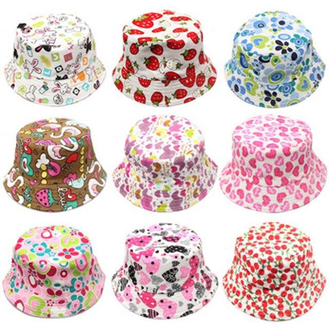 Outdoor Children Floral Bucket Hat Panama cap Cute Cotton Girls Boys Summer Beach Cap Fisherman Cap