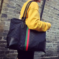 2016 new leather bag bag leisure Korean striped ribbon Oxford cloth with top layer leather bag