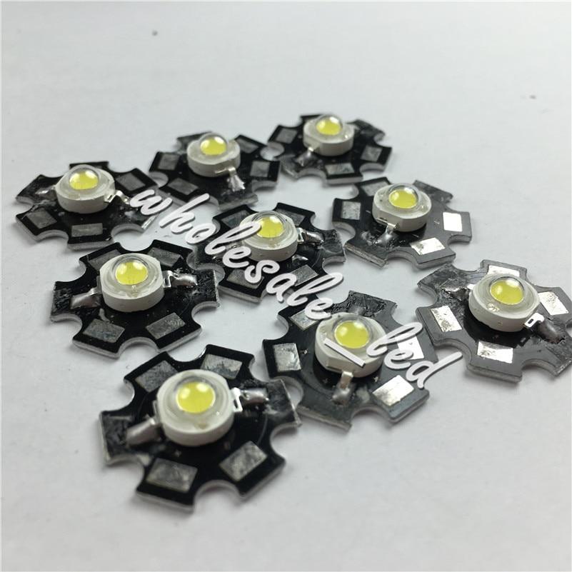 10PCS 1W High Power Cold White LED Light Emitter 10000-30000k with 20mm Heatsink