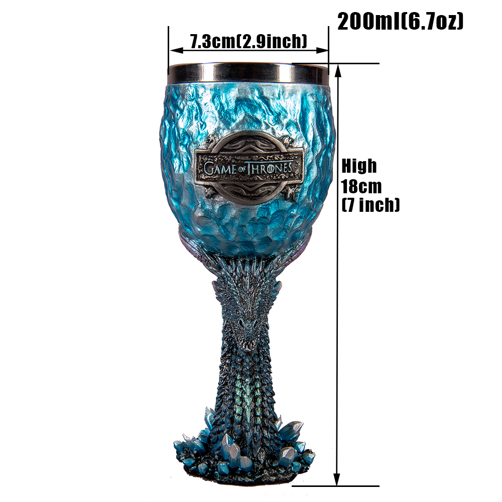 Game of Thrones Goblet Wine Glass Viserion White Walker Cool Dragon Goblet Mother's & Father's Days Halloween GOT Fan Gift
