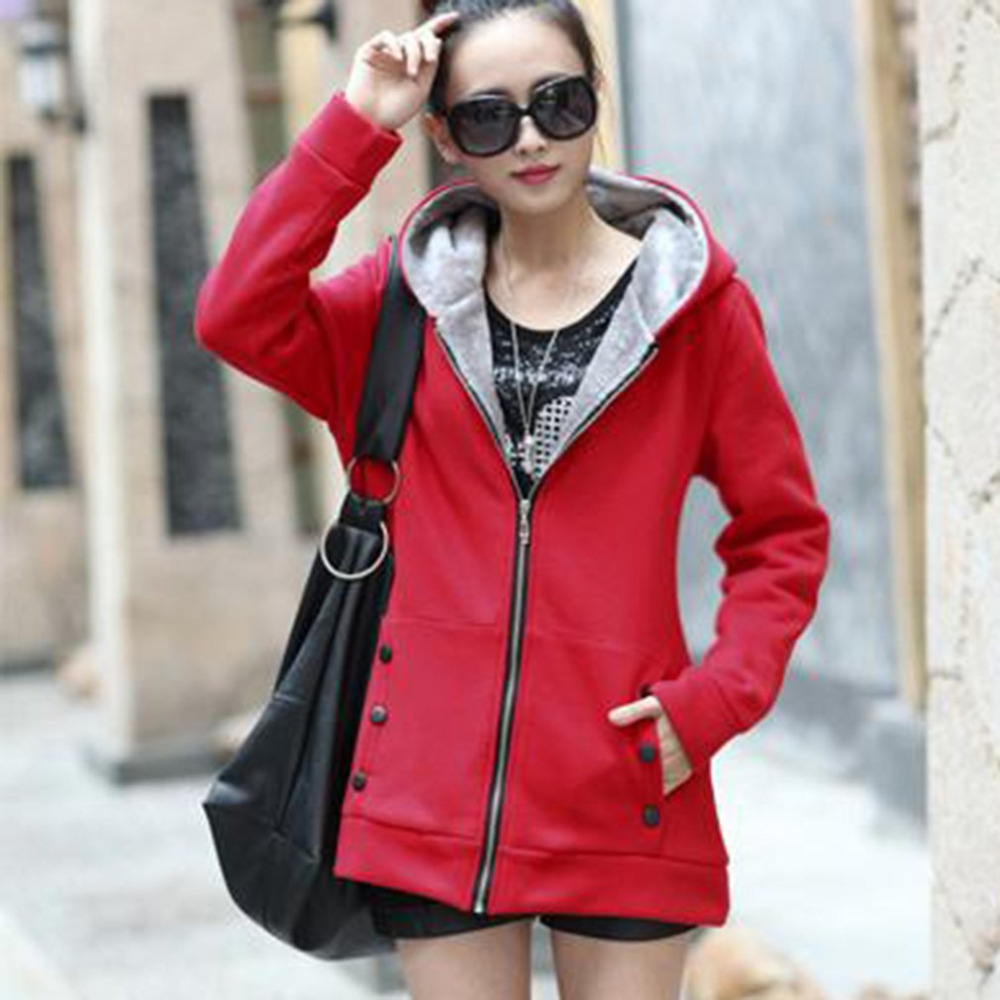 New Fashion Hoodies Sweatshirts Fleece Coat Autumn Winter Women Zipper Design Casual Long Sleeve Hooded Outerwear Plus Size 2XL