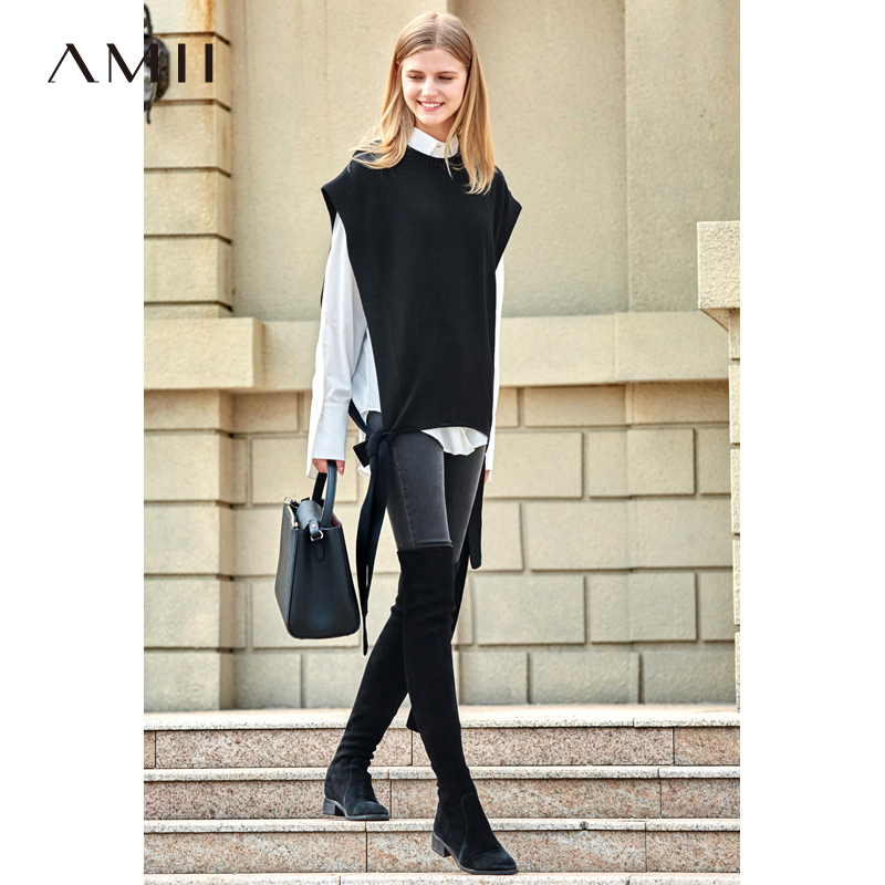 Amii Minimalist Vest Sweater Women Spring 2019 Fashion New Solid Loose Lace Up Sleeveless O Neck