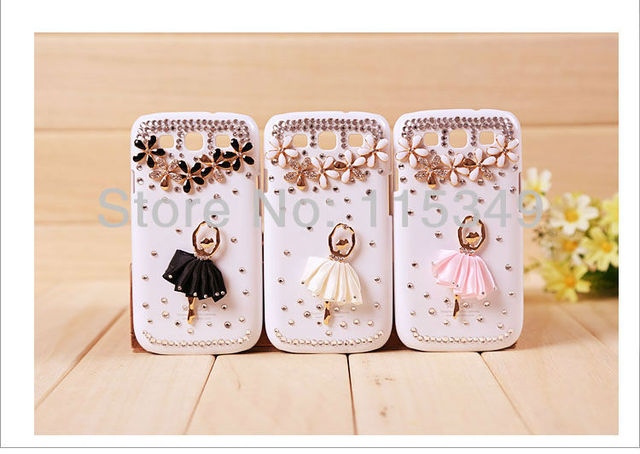 phone Case Covers for Samsung Galaxy Galaxy SIII S3 I9300,rhinestone crystal flower ballet dance girl,6 colours,free shipping