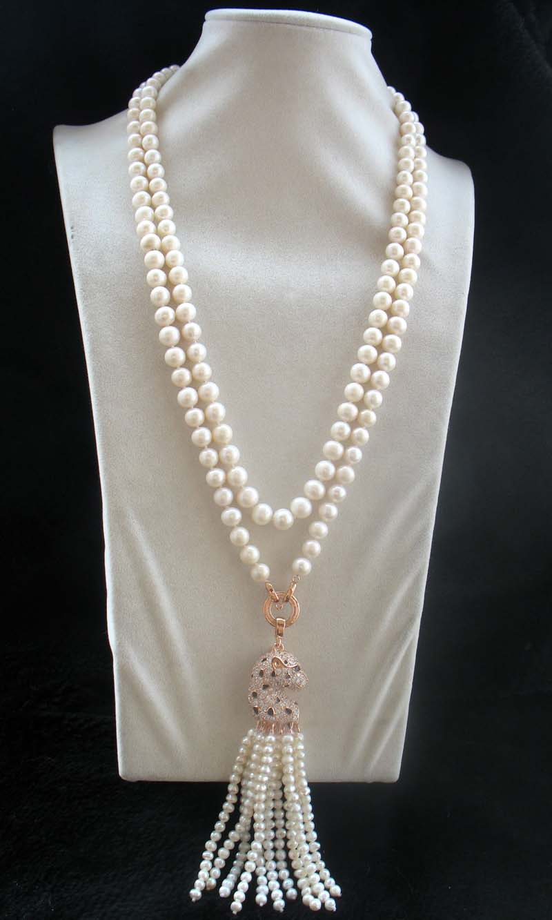 все цены на freshwater pearl white nea round 8-9mm +leopard head necklace 45inch FPPJ wholesale beads nature онлайн