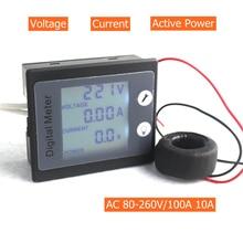 AC 80-260V 100A 10A вольтметр-Амперметр AC мощность/счетчик энергии датчик Voltimetro Amperimetro с STN ЖК-подсветкой
