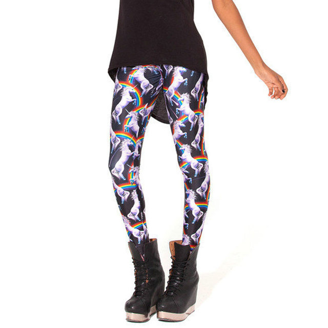 d160f6af6e174c Pantalones Mujer Women Fashion 3D Rainbow Unicorn Animal Leggings Printing  Milk Vintage Plus Size Leggings Leggins