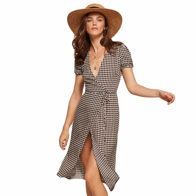 Black white gingham ruffle trim short sleeve plunge V neck tied wrap midi  dresses for women ladies vintage sexy plaid dresses-in Dresses from Women s  ... e133eea668