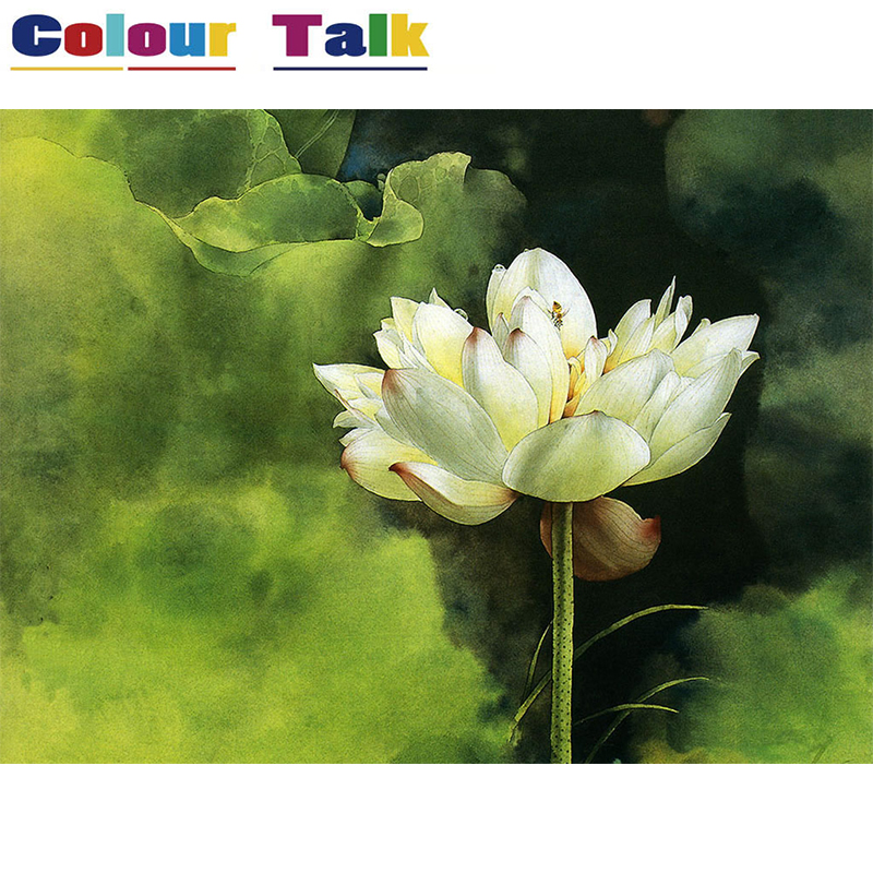DIY Oil Painting by Numbers Acrylic Wallpaper Painting by Numbers on Canvas Pictures Drawing Home Decor Flower Lotus P-0018