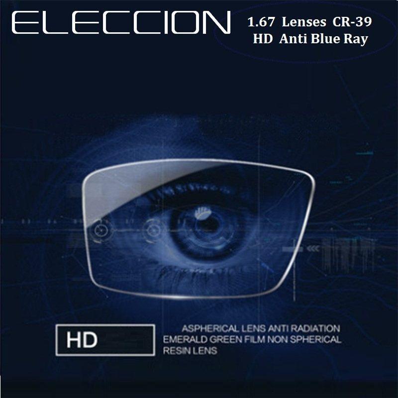 e2a7be353fd ELECCION 1.56 1.61 1.67 1.74 Anti Blue Light Prescription Glasses Lenses  CR-39 Myopia Hyperopia