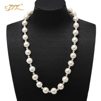 JYX Elegant Edison Pearl Necklace women Classical natural 10-13mm White Round Edison Freshwater Pearl Necklace Christmas gift