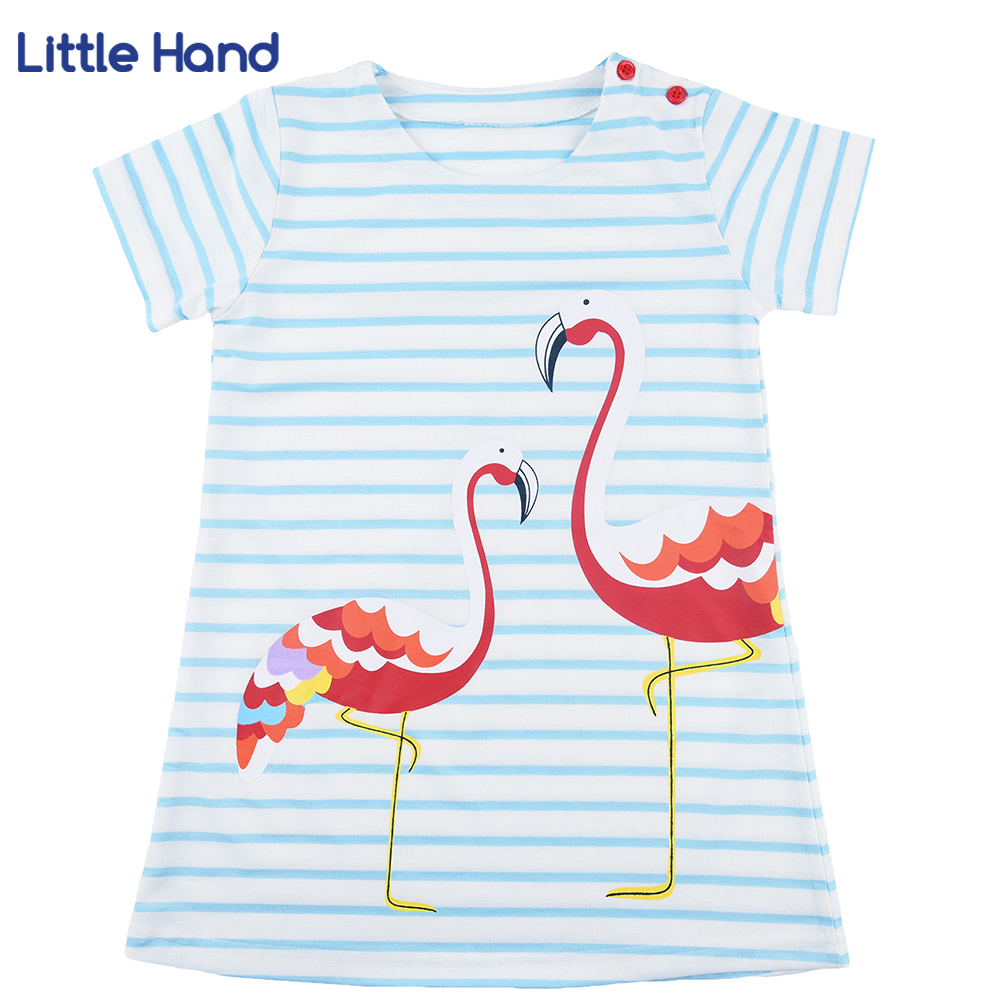 Kids Girls Flamingo A-line Dress Bady Girl Mini Dress Cotton Casual Short Sleeve Striped Print Dress Kid Robe Children Vestidos vitek vt 2508 bk
