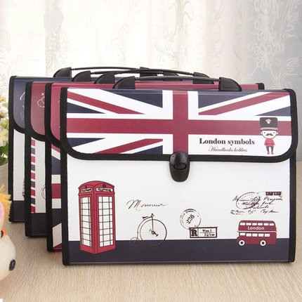 London Symbols Expanding File Folder A4 Document File Bag 13 Pockets File Organizer Office File Folders coloffice 1pcs cartoon cute flamingo filing production 20 sheets expanding folder multi function clip file document file folders