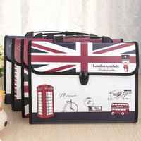 London Symbols Expanding File Folder A4 Document File Bag 13 Pockets File Organizer Office File Folders