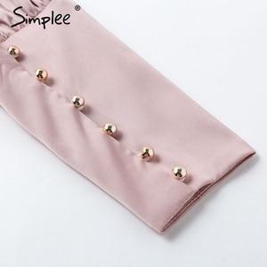 Image 5 - Simplee Vintage สีชมพูซาตินเสื้อผู้หญิงเต่าคอหรูหราเสื้อเสื้อแขนยาวแฟชั่น elegant party tops