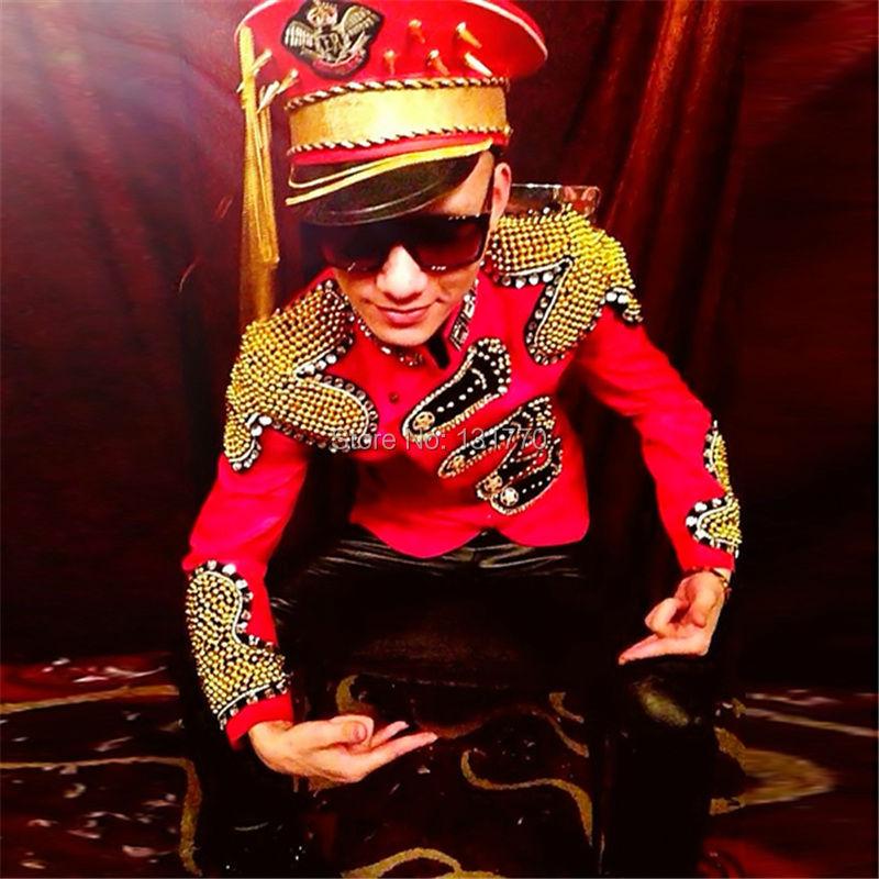 Trendige Mit Perlen Männer Tragen Mode Jacke Black red Strass Sänger 017 Nachtclub Dh Outwear Tänzer Leistung Kleidung Bühne Für q8zzw714