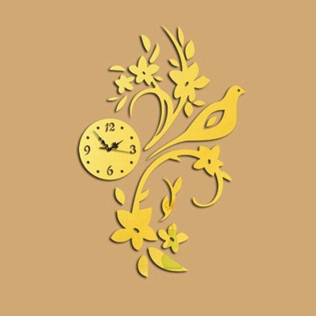 New Burung Kreatif Jam Dinding Dekorasi Lingkaran Cermin Akrilik Stiker  Dinding 3D DIY Mural Decal Art af99641724