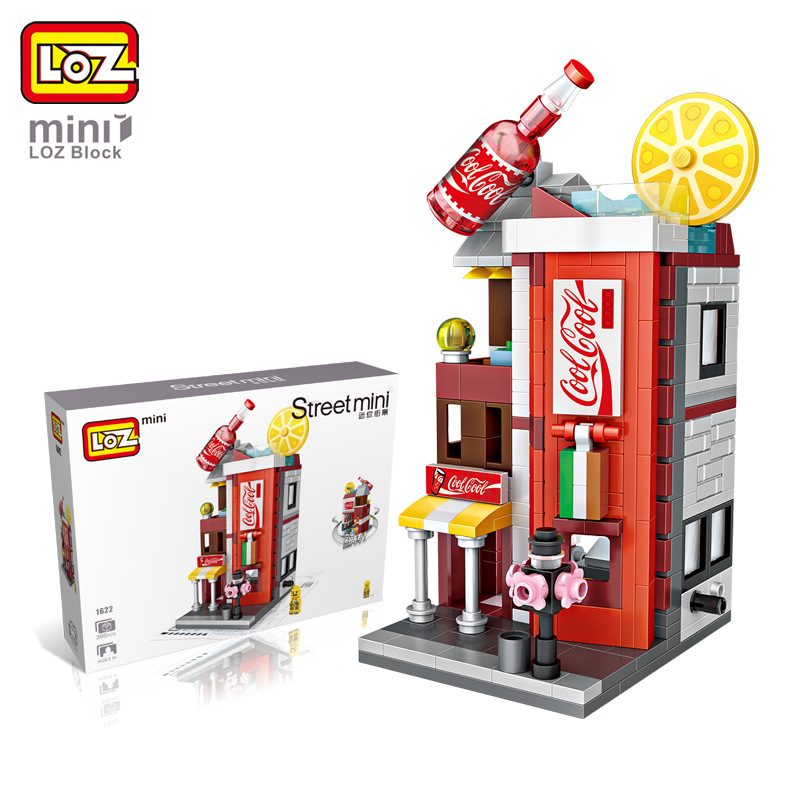 LOZ City streetscape Cola Drinks Shop Architecture Model Building Blocks Mini House Educational Toys DIY Mini Blocks 1622 loz mini diamond building block world famous architecture nanoblock easter island moai portrait stone model educational toys