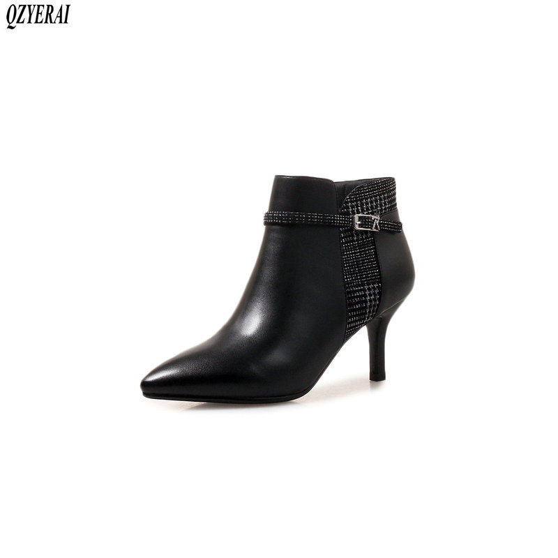 QZYERAI New fall/winter 100% leather boots for women high-heeled ankle boots for women natural leather shoes for women size34-40