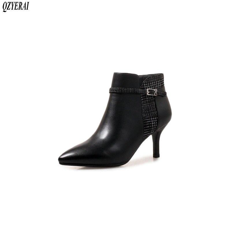 Hauts 40 Size34 Pour Naturel Bottes Femmes À Talons Chaussures Nouveau hiver Cuir clair Qzyerai Noir 100En Cheville Automne N0wOkZnXP8