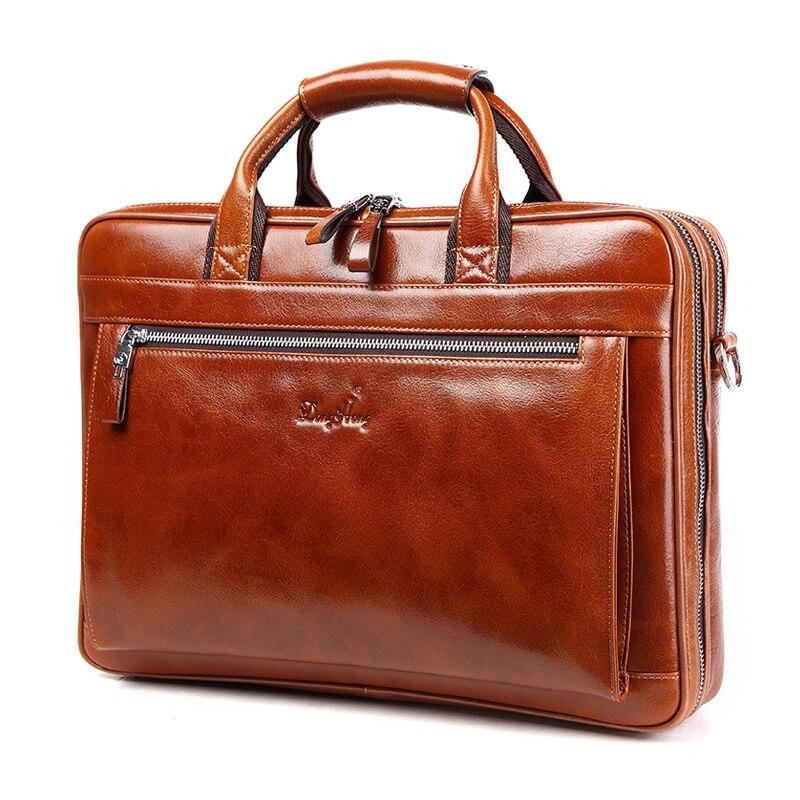 DongHong vintage 100% genuine leather men business bag Top quality Mens briefcase handbags shoulder bags messenger laptop