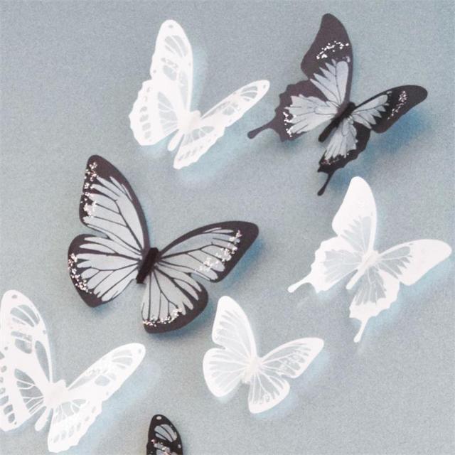 Кристалл 18 Шт. 3D Бабочки DIY home decor стены стикеры для детская комната Рождественский вечер украшения кухня холодильник этикета