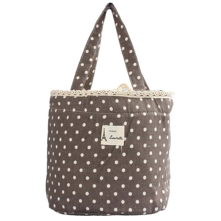 Colorful High Quality Linen Cotton Thermal Insulated Lunch Box Tote Cooler Bag Bento Pouch Lunch Container Dropship B35