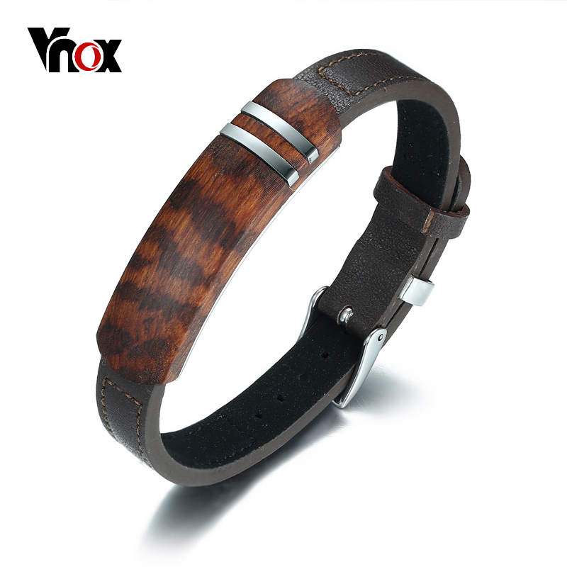 Vnox Antike Palisander Holz Männer Armband Aus Echtem Leder Armband Edelstahl Schmuck Homme Einstellbare Lengh Gürtelschnalle